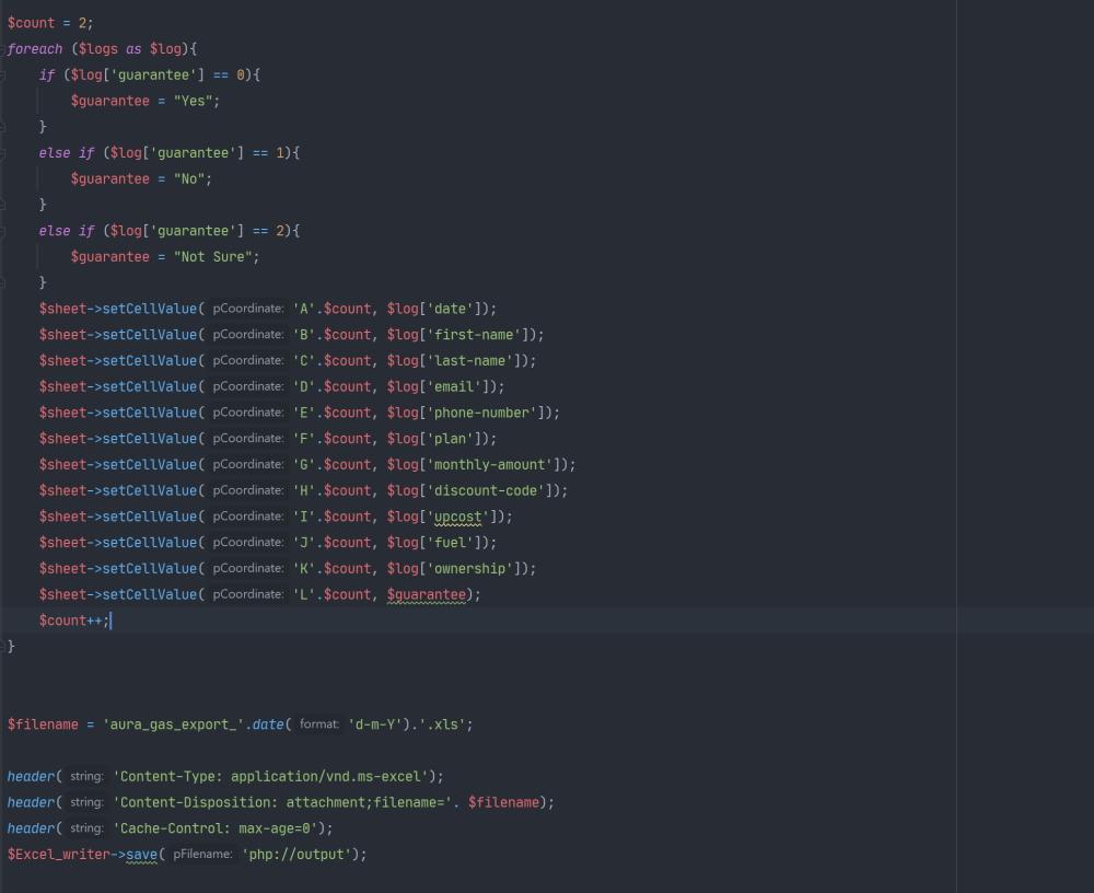 Export code